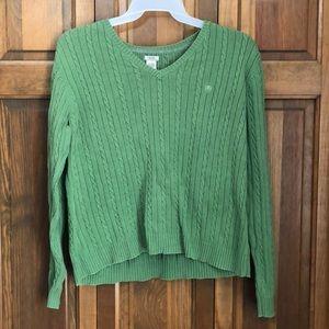 IZOD XL Green Long Sleeve V-neck Sweater
